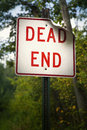 Dead end sign bold red marks the of the road Stock Photo