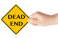 Dead end traffic sign with hand Stock Photography