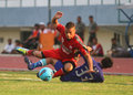 Dead footballer diego mendieta persis solo players mandieta left each competing for the ball with players persitara gani in Stock Photos