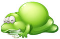 A dead greenslime monster illustration of on white background Royalty Free Stock Photo