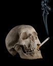 Dead human head smoking Royalty Free Stock Photo
