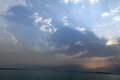 Dead sea on cloudy sky background israel Royalty Free Stock Images