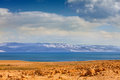 Dead sea in the desert with mountain view jordan Stock Photography