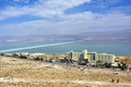 Dead sea israel apr view from above on the coastline and one from many resorts of s part of Royalty Free Stock Photos