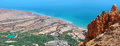 Dead sea magic wold coast with natural relief channels with water of mountain springs panoramic view from mountain einot tzukim Stock Photo