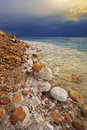The Dead Sea in a spring thunder-storm. Royalty Free Stock Photography