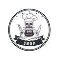 Dead Skull Chef Grinning with For, Knive, and Hat. Restaurant Logo Template. Circle Vector Drawing