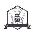 Dead Skull Chef Grinning with For, Knive, and Hat. Restaurant Logo Template. Hexagon Vector Drawing