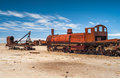 Dead train in cemetery at uyuni Royalty Free Stock Image