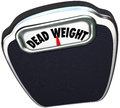 Dead weight words scale useless inefficient heavy burden on a to illustrate a or or impediment to success Royalty Free Stock Photo