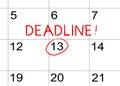 Deadline on the calendar Royalty Free Stock Photo