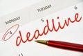 Deadline text in the calendar Stock Image