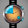 Deadline watch abstract colorful background with modern hand and the text written inside the Stock Photo