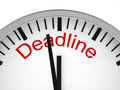 Deadline white clock with the word Stock Image