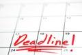 Deadline written in red on calendar Stock Photo