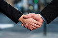 The deal is on business handshake successful people shaking hands after closing a Royalty Free Stock Images