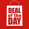 Deal of the day poster with bag vector illustration for your design Royalty Free Stock Photos