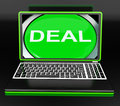 Deal laptop shows online trade contract or dealing showing Stock Photography