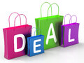 Deal on shopping bags shows bargains showing and promotion Royalty Free Stock Photo