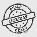 Deals holiday rubber stamp isolated on white.