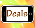 Deals smartphone shows online offers bargains and promotions showing Royalty Free Stock Image