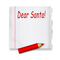 Dear santa letter to claus on piece of paper by red pencil illustration Royalty Free Stock Images