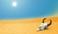 Death cow skull in the desert illustration Royalty Free Stock Photos