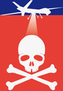 Death drone stylized iconic flag like and head Stock Images
