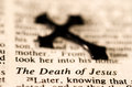 The death of jesus black cross put on bible page Stock Photos
