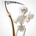 Death-skeleton with a scythe shows that everything Stock Image