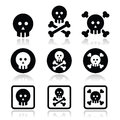 Death, skull with bones icons set