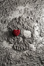 Death skull made of ash with heart on one eye Royalty Free Stock Photo