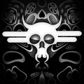 Death skull white on black metal background Royalty Free Stock Photography