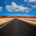 Death valley straight road in desert national park california california Stock Photography