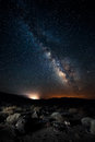 Death valley under the milky way night scene of Stock Image