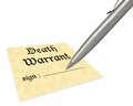 Death warrant blank concept of signing your pen is for multiple uses Royalty Free Stock Photography