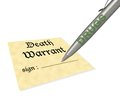 Death warrant drugs concept of signing your Stock Photography