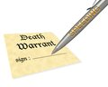 Death warrant speeding concept of signing your Royalty Free Stock Photography