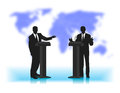 Debate people at a microphone on not a sharp background of the planet Royalty Free Stock Photo