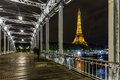On the Debilly Bridge Eiffel Tower at Night and Royalty Free Stock Photo