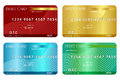 Debit card credit illustration in four colors Stock Photo