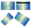 Debit card credit illustration in four different sides Stock Photography