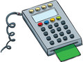 Debit card keypad a cartoon with inserted Royalty Free Stock Photo