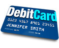 Debit card plastic bank charge banking account a blue to present at a store when purchasing merchandise and have the merchant Stock Images