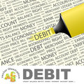 Debit word cloud illustration tag cloud concept collage Royalty Free Stock Photos