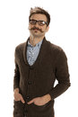 Debonair man confident looking young hipster in glasses and handlebar mustache isolated on white Royalty Free Stock Photo