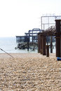 Debris of the old west pier in Brighton Royalty Free Stock Photo