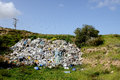 Debris thrown in a vacant lot near ashkelon city israel Royalty Free Stock Photo