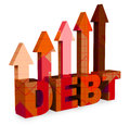 Debt arrows means financial obligation and bankruptcy d renderi showing direction rendering Royalty Free Stock Photography
