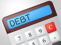 Debt calculator indicates financial obligation and calculation showing indebted Stock Photo